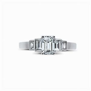 Emerald Cut Engagement Ring With Step Down Baguette Cut Shoulders 0.50ct DVVS2 BGI